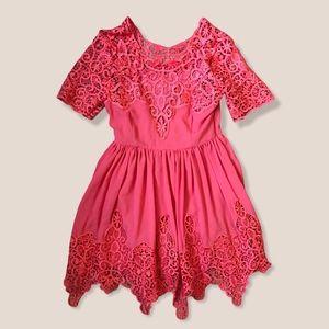 Gracia Lace Coral Pink Boho Dress Sz Small